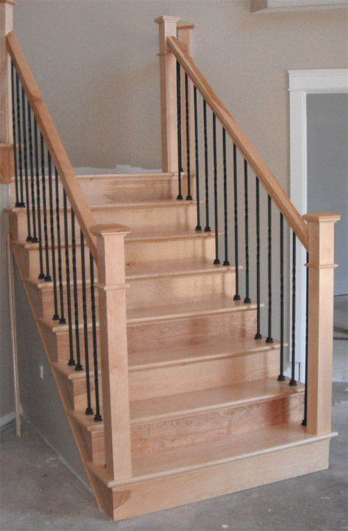 Square Craftsman Newel Post & Twist Metal Balusters - Picture #1