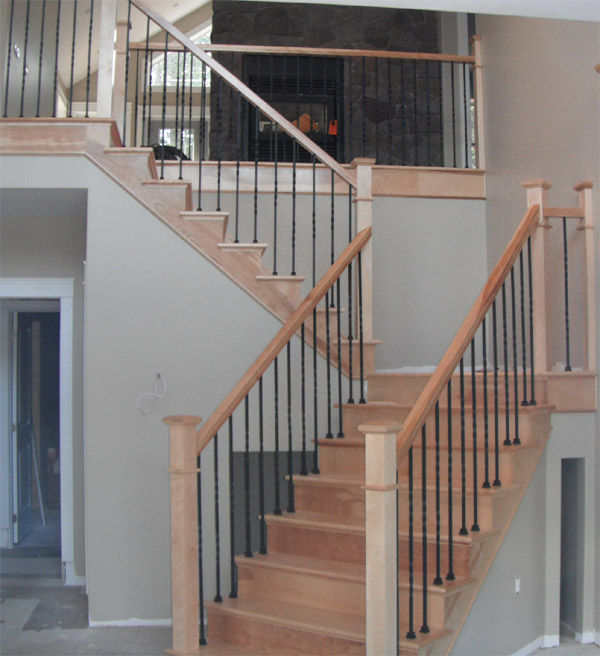 Square Craftsman Newel Post & Twist Metal Balusters - Picture #2