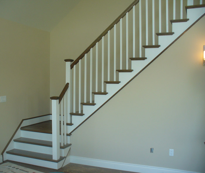 White Square Balusters & White Square Post With Stained Top Cap - Picture #1