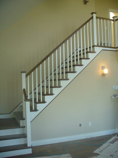 White Square Balusters & White Square Post With Stained Top Cap - Picture #2