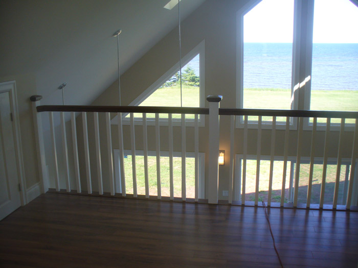 White Square Balusters & White Square Post With Stained Top Cap - Picture #6